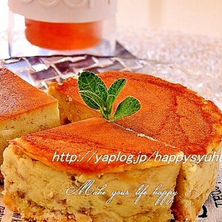 大豆粉でしっとり・フライパンでバナナ☆チーズケーキ