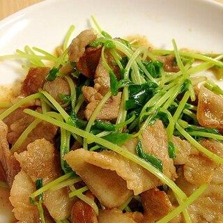 豆苗と豚バラのオイスターソース炒め