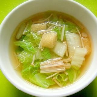 白菜えのき油揚げの和風スープ