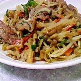 牛肉とカット野菜で炒め物