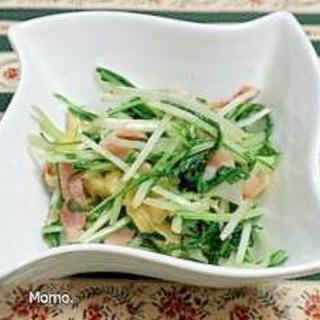 水菜と油揚げのベーコン炒め