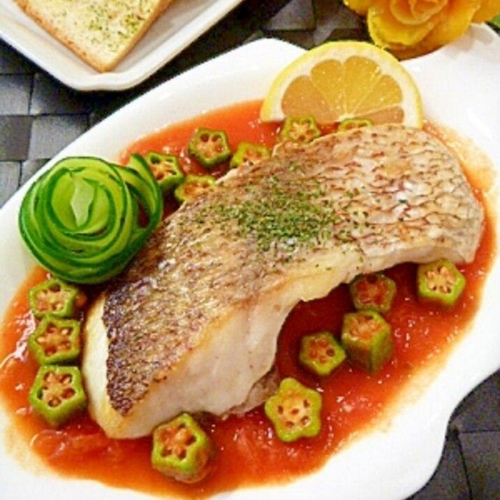 塩麹で鯛のソテー 〜おくらトマトソース添え〜