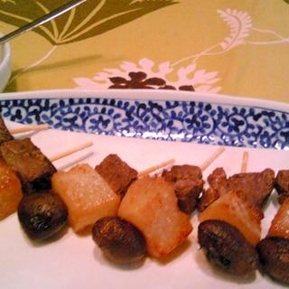 牛肉・むかご・蕪の串揚げ