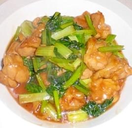 小松菜と鶏肉のにんにく醤油炒め