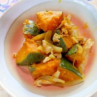 冷凍南瓜・豚小間肉・玉葱のめんつゆ煮