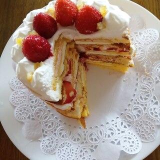 菓子パンで★超簡単ワンコインデコレーションケーキ