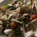 ささみと野菜のシンプル塩味のわかめ炒め