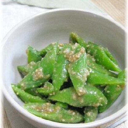 春野菜スナップエンドウのごま味噌和え
