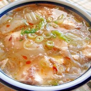 白菜と豚ミンチのとろとろピリ辛春雨スープ♪