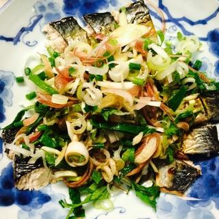 【ガサツ料理】焼き〆鯖の薬味まみれ
