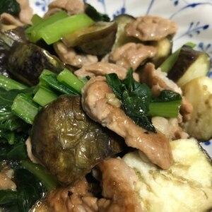 ナスと小松菜のオイスターソース炒め煮