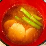長芋とアスパラの味噌汁