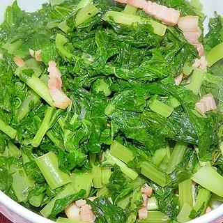 青菜のベーコン炒め