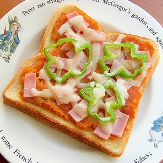赤いポテトサラダ(ツナ入りケチャ)のピザトースト♪