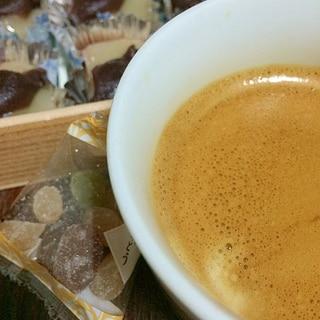 餡子餅と甘納豆の和コーヒー