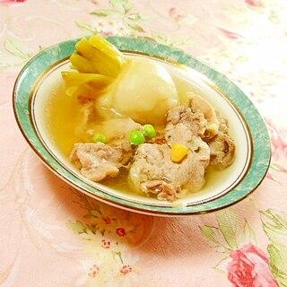ダシダで作ろ❤蕪と豚肉の生姜にんにくスープ❤