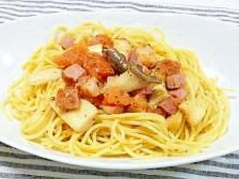 簡単♪美味しい!エリンギトマトパスタ