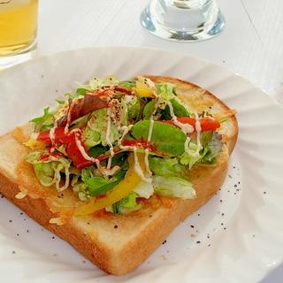 10品目サラダと焦がしチーズのオープンサンド