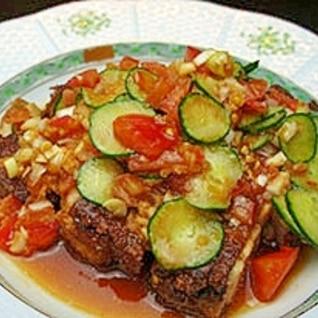 鶏もも肉の野菜たっぷり中華タレ♪
