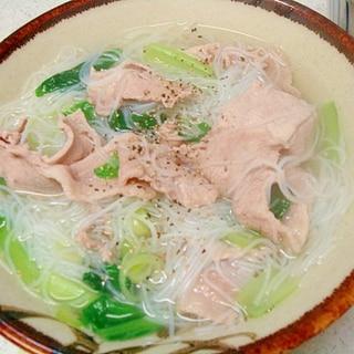 豚肉と小松菜の汁ビーフン