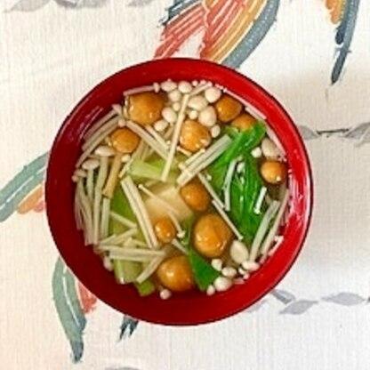 チンゲン菜、木綿豆腐、なめこ、えのきのお味噌汁
