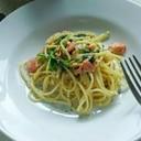 スモークサーモンとほうれん草のスパゲッティ
