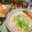 安納芋と茸と鶏肉の豆乳煮込み