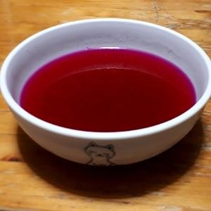 簡単デザート♪紫蘇ジュースでぷるぷる鮮やかゼリー☆