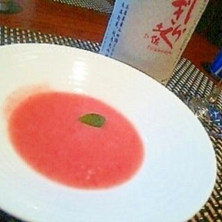 ミキサーで簡単、イチゴとフルーツトマトのガスパチョ
