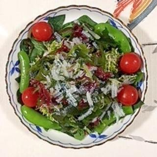 ほうれん草に海藻サラダ
