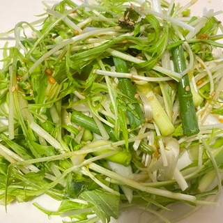 ごま油香る♪水菜と万能ネギのたっぷりサラダ