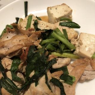 豆腐でボリュームアップ 豚肉とニラ豆腐の炒め物