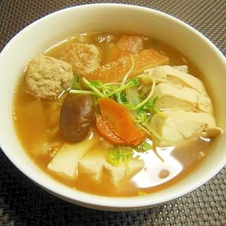 イワシのつみれと豆腐のキムチ風味♪