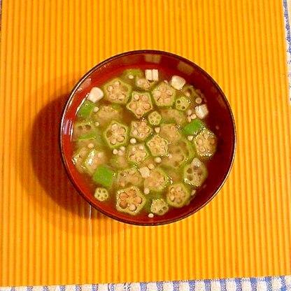 トウモロコシとオクラの味噌汁♪