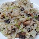 鶏肉レタス椎茸のマヨごはん炒め