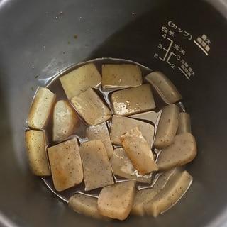 電気圧力鍋で簡単!!味しみ板こんにゃく