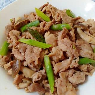 アスパラと豚肉の甘辛炒め