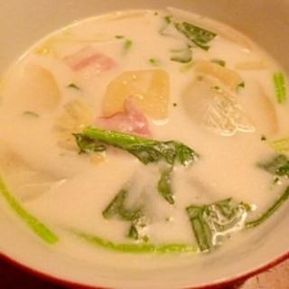 レンジで時短 ほうれん草のクリームスープ