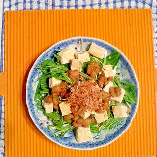 水菜と豆腐と納豆のサラダ♪