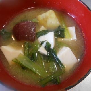 さつま芋、小松菜、豆腐の味噌汁