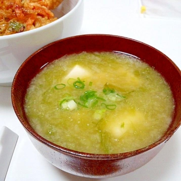 磯の香り満喫(^^♪ 乾燥あおさのりで豆腐の味噌汁