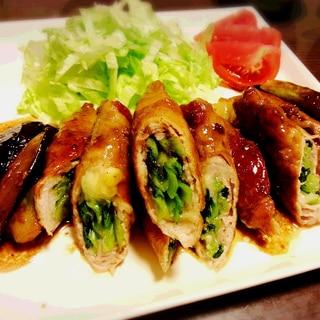 小松菜(ほうれん草)とチーズの肉巻き☆バタポン味♪