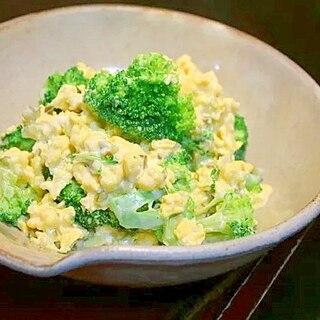 ブロッコリーの炒り卵あえ