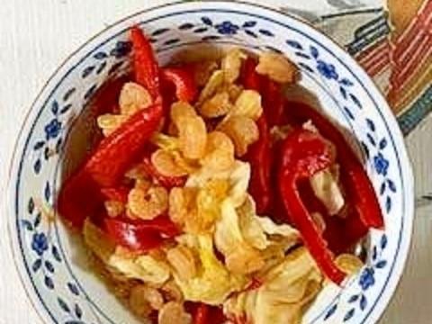 えび、パプリカ、キャベツの炒め物
