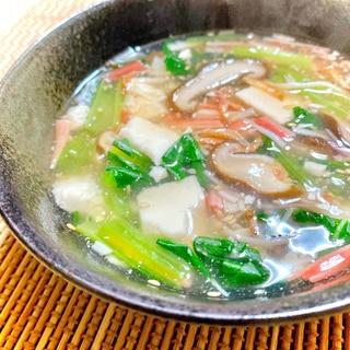 とろっとあったか♪小松菜と椎茸の豆腐あんかけスープ