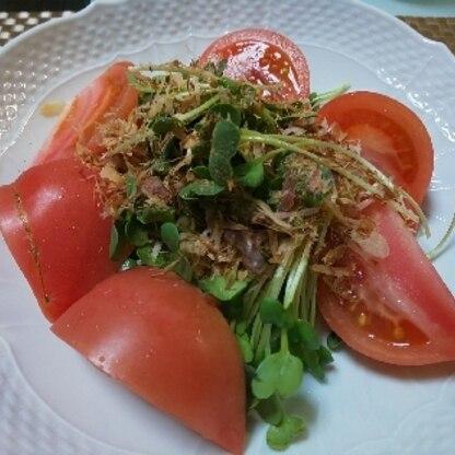 トマトも添えて、おいしくいただきました。 シンプルっておいしい!