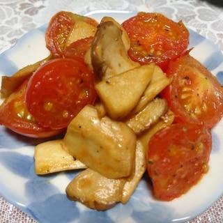 エリンギとトマトのバター醤油炒め