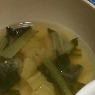 白菜と小松菜の味噌汁