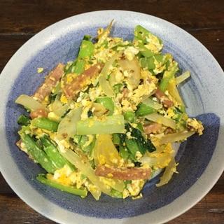 スパムと小松菜の炒め物