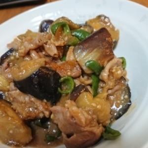 なすとピーマンと豚肉の味噌野菜炒め